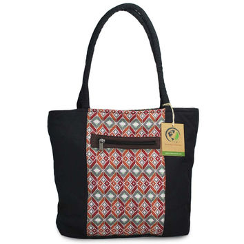 Mato Canvas Tote Bag Top Handle Boho Shoulder Handbag Tribal Pattern Black