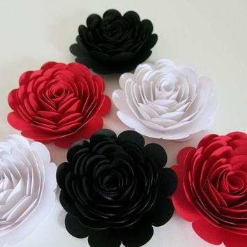 "Red, Black and White Wedding Decor, Large Paper Flower Set of 6, 3"" Rose Blossoms, Table Runner Centerpiece, Event Decor, Shower Gift Idea"