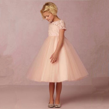 2017 New Lovely Blush Pink Flower Girl Dresses with Short Sleeves Ankle Length Lace Tulle Kids Formal Wear
