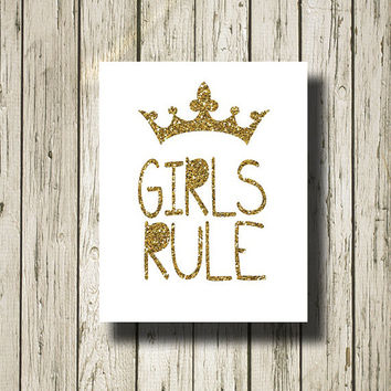Girls Rule Gold Glitter White Print Poster Printable Instant Download Digital Art Wall Art Home Decor G0175wgg