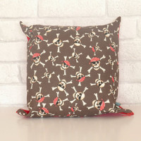 Pirate Skull & Crossbones cushion for boys room/nursery