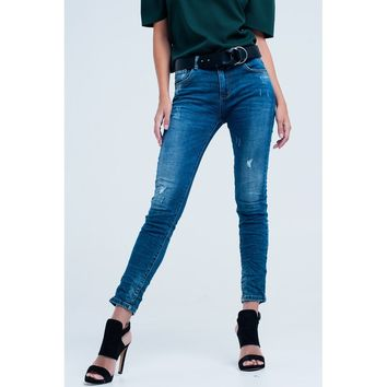Skinny Blue jeans with rips