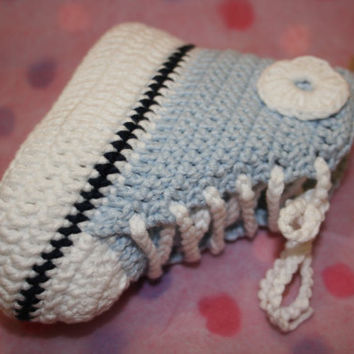 Baby crochet booties baby boy high tops shoes crochetyknitsnbits ice blue Bamboo hand made baby boy girl clothes shower gift 3 to 9 months