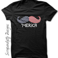 Merica Mustache Shirt - Mens 'Merica Tshirt / American Flag Shirt / Fourth of July Shirt / Memorial Day Tshirt / Womens Summer Outfit / Tee