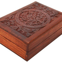 Tree of Life 5 inch x 7 inch Hand Carved Wooden Jewelry Storage Box