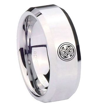 8MM Mirror Bevel Edges Doctor Who Silver Tungsten Laser Engraved Ring