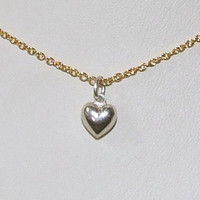 18k Gold Vermeil and Tiny Sterling Silver Puffy Heart Necklace, Minimalist, Simple Layering Jewelry, Mixed Metals, Precious Metals Wabi Sabi