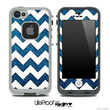 Blue Sparkle Print with White Chevron Pattern Skin for the iPhone 5 or 4/4s LifeProof Case
