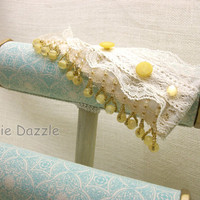 Beaded fringe and lace cuff bracelet with  vintage yellow buttons. Romantic layered lace cuff, wedding jewelry