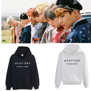 KPOP BTS Bangtan Boys Army 2018 new    Boys Same paragraph hoodie Korean men and women Fall and winter clothes AT_89_10