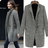 Ladies  Women Coat Winter Warm Lapel Trench Wool Cashmere Long Parka Coat Outwear Jacket