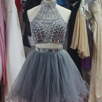 Short A Line Two Pieces Grey Prom Dresses, Short Homecoming/Graduation Dresses