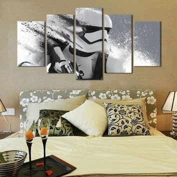 Star Wars Force Episode 1 2 3 4 5  canvas 5 piece Stormtrooper Movie Poster Canvas Painting Wall Pictures For Living Room Decorative printing AT_72_6