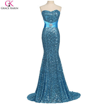 Mermaid Evening Dresses Sequin Long Formal Gowns Gold Blue Black Red Evening Wedding Party Special  Dresses