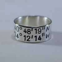 sterling silver latitude and longitude ring