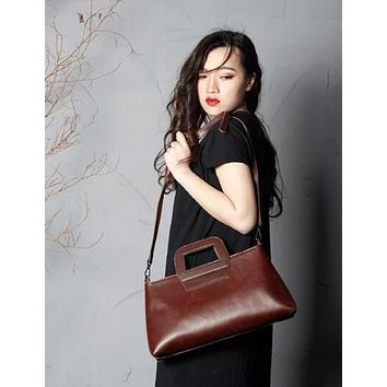 BLUESEBE WOMEN HANDMADE FULL GRAIN LEATHER CROSSBODY SATCHEL SCY02