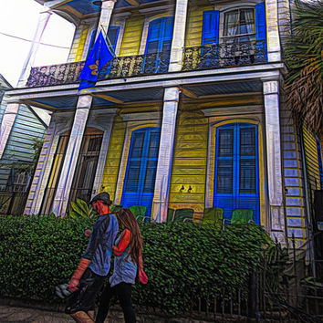 New Orleans Art, Bywater House art, Shotgun Houses, Colorful Houses Art, Whimsical House Art, Yellow House Painting, NOLA Art Print, Korpita