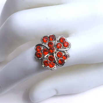 10 dollar SALE!!...Red Flower Ring Adjustable Costume Rhinestone Vintage Silver Tone