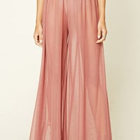 Sheer Mesh Wide-Leg Pants