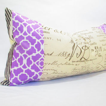 Purple long bolster pillow, rustic decor cottage chic ikat cushion cover pillow with paris print boho bohemian OOAK Beige cream brown french