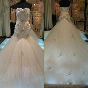 New Gorgeous Crystals Beads Appliques Tulle Mermaid Wedding Dresses Bridal Gown Size 2 4 6 8 10 12 14 16  Custom Made