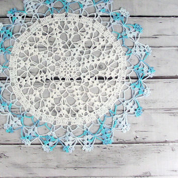 Lovely Crocheted White Multi Colored by ronisboutique on Zibbet