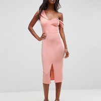 ASOS Sculpted Asymmetric Bardot Midi Dress at asos.com