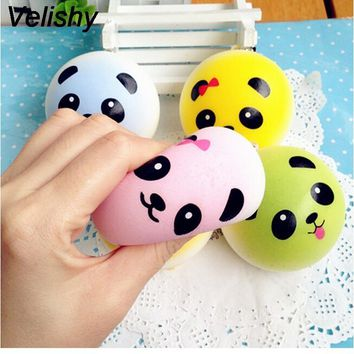 Velishy 1PCS  Kawaii Lovely Round Panda Squishy  Buns Bread Charms Key/Bag/Cell Phone Straps Bag Parts & Accessories 4 cm