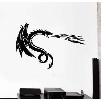 Vinyl Wall Decal Flying Fairy Dragon Fire Mythology Fear Stickers Mural (g496)