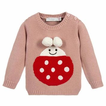 Stella McCartney Baby Girls Soft Pink Ladybug Sweater
