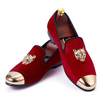 Harpelunde Animal Buckle Men Wedding Shoes Red Velvet Slippers Gold Cap Toe Loafers