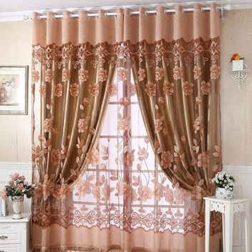 250cmx100cm Print Floral Voile Door Curtain Window Room Curtain Divider Scarf Home fashion 2017 tops