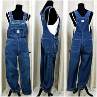 Vintage Overalls / denim bib overalls 32 X 30 / 90s Liberty USA / mens / womens / dark wash / grunge