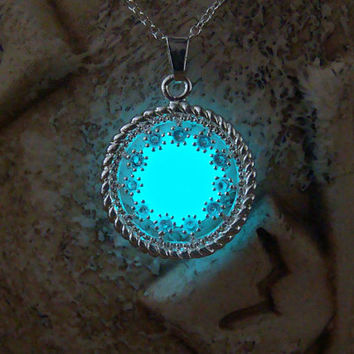 Glowing Pendant, Aqua Blue Circle, GLOW in the DARK, Glowing Necklace, Glow in the Dark Pendant, Glowing Jewelry, Glow in the Night