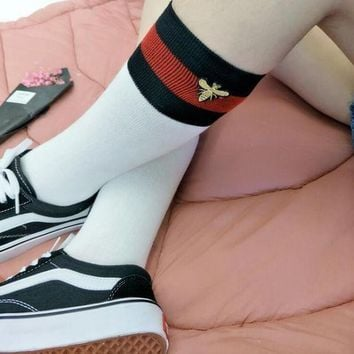 Gucci Fashion Striped Bee Embroidery Socks Stockings H 8-18