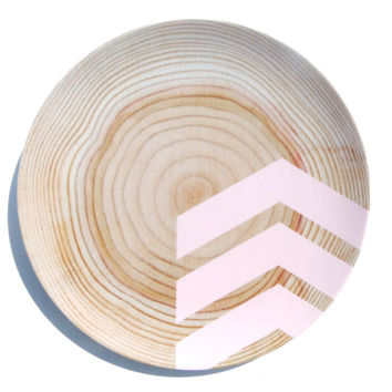 Modern Wood Simple Chevron 10 Melamine Plate by nicoleporterdesign
