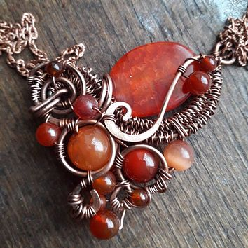 Red Agate Wirewrap Necklace with Cornelian Beads