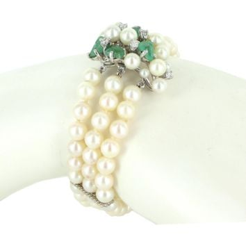 Vintage 3 Strand Cultured Pearl Emerald Diamond Clasp 14 Karat Gold Bracelet Estate