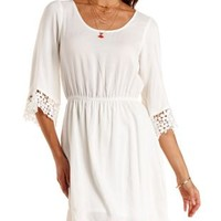 Crochet Trim Three-Quarter Sleeve Dress by Charlotte Russe
