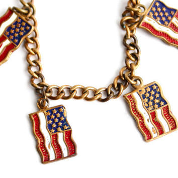 Vintage American Flag Charm Bracelet -  1940s Brass 4th of July Patriotic WWII Costume Jewelry / Red White & Blue Old Glory