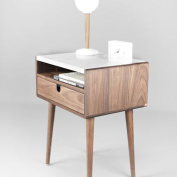 Mid Century Nightstand with Drawer in Walnut and Carrara marble top