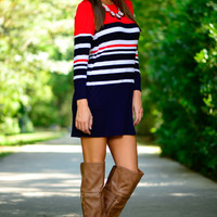 Free To Be Dress, Navy/Red