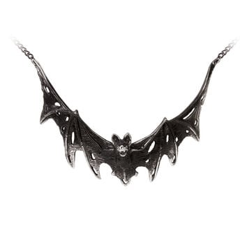 Alchemy Gothic Distressed Vampire Bat Villa Diodati Pendant Necklace