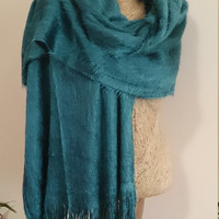 Teal Fuzzy  blanket scarf, wide blanket scarf, casual scarf unique scarf, winter outfit, For Men, For Her, winter wedding scarf blanket