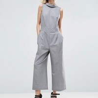 ASOS Jumpsuit with Shirt Detail and Tie Back at asos.com