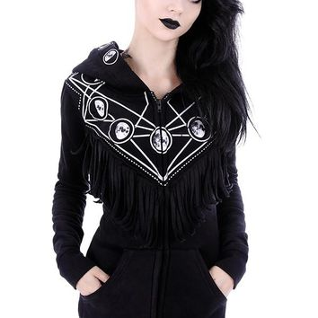 Gypsy Witch Oversized Hood Moon Phase Gothic Black Hoodie with Fringe