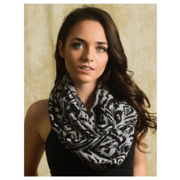 """Always My Style"" White Black Animal Print Infinity Scarf"