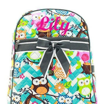 Aqua Owl with Grey Trim Monogrammed Backpack  Monogram Quilted Backpack  Personalized Backpack