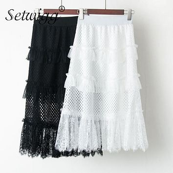 SETWIGG Sweet Lolita Grid Mesh Tiered A-line Skirts Elastic Waist Lace Patchwork Medium Long Tutu Skirts SG1855