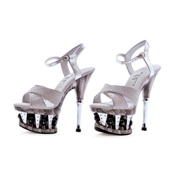 Ellie Shoes Janie 6 Inch Heel Glitter Crossed Strap (6,Silver Glitter)